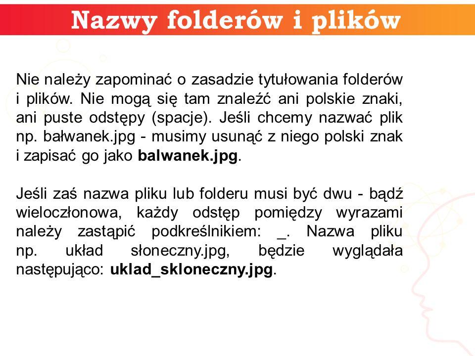 Nazwy folderów i plików