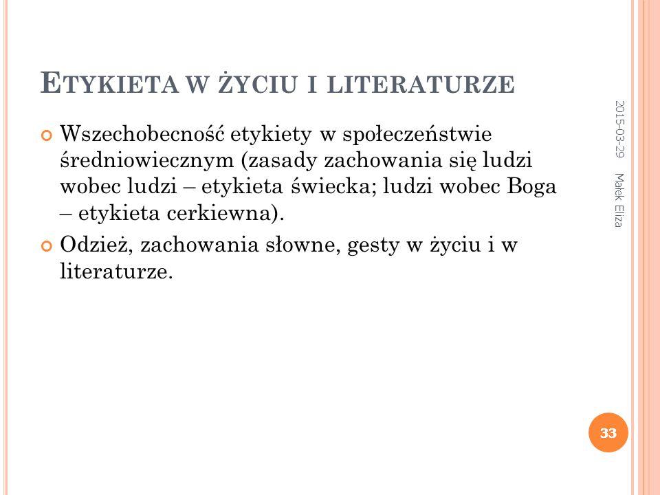 Etykieta w życiu i literaturze