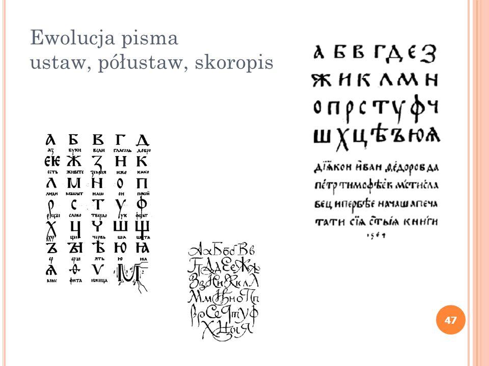 Ewolucja pisma ustaw, półustaw, skoropis