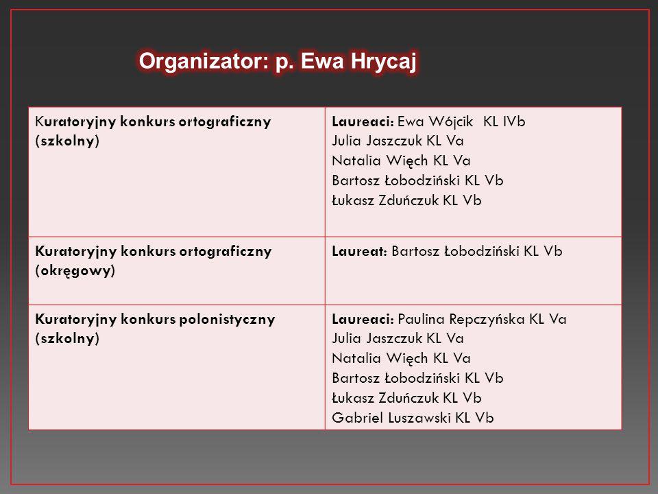 Organizator: p. Ewa Hrycaj