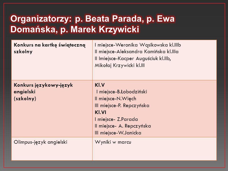 Organizatorzy: p. Beata Parada, p. Ewa Domańska, p. Marek Krzywicki