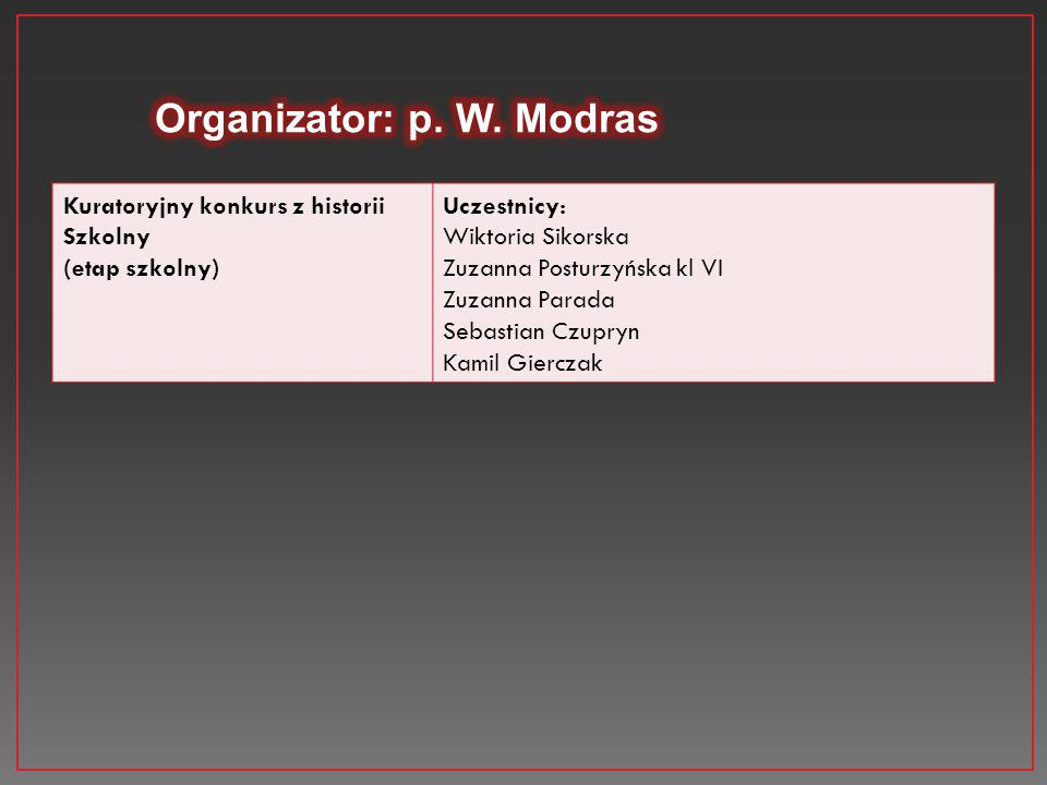 Organizator: p. W. Modras