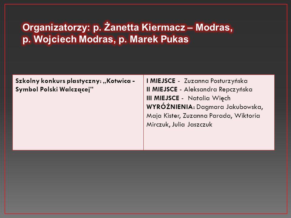 Organizatorzy: p. Żanetta Kiermacz – Modras,