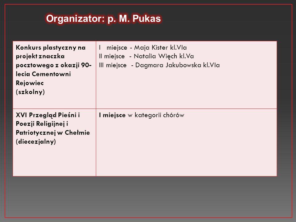 Organizator: p. M. Pukas Konkurs plastyczny na projekt znaczka pocztowego z okazji 90-lecia Cementowni Rejowiec.
