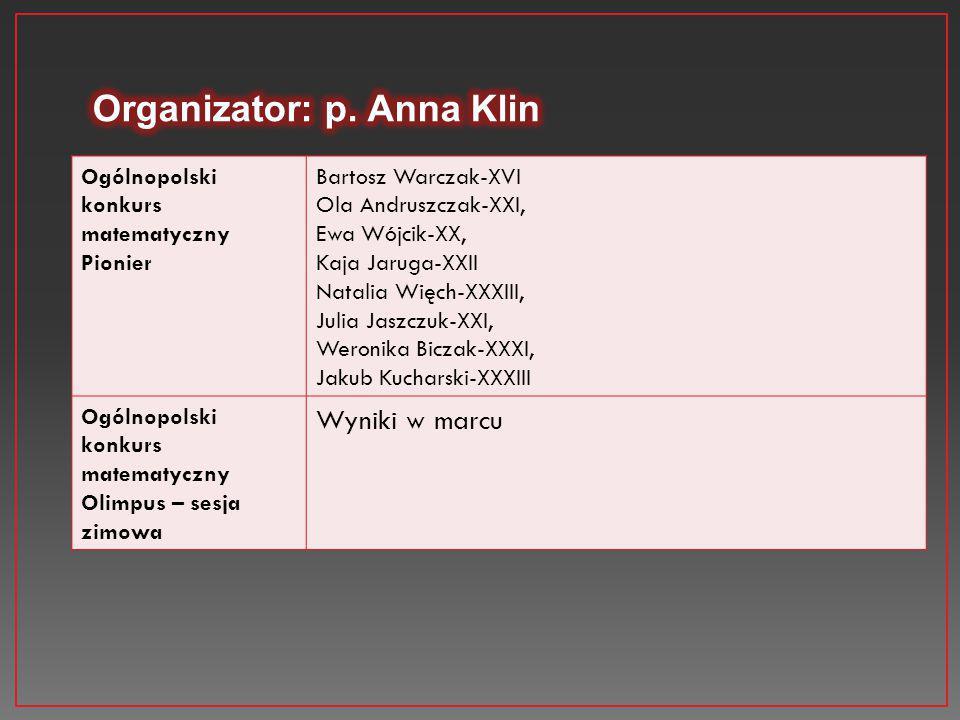 Organizator: p. Anna Klin