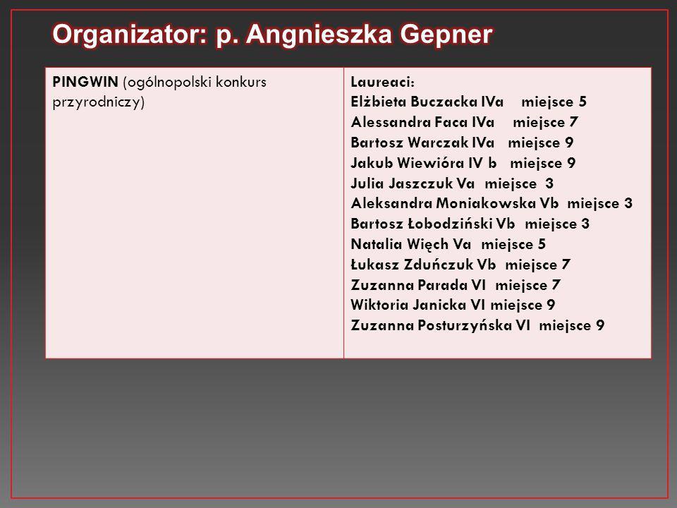 Organizator: p. Angnieszka Gepner