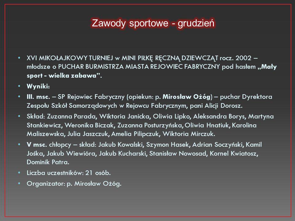 Zawody sportowe - grudzień