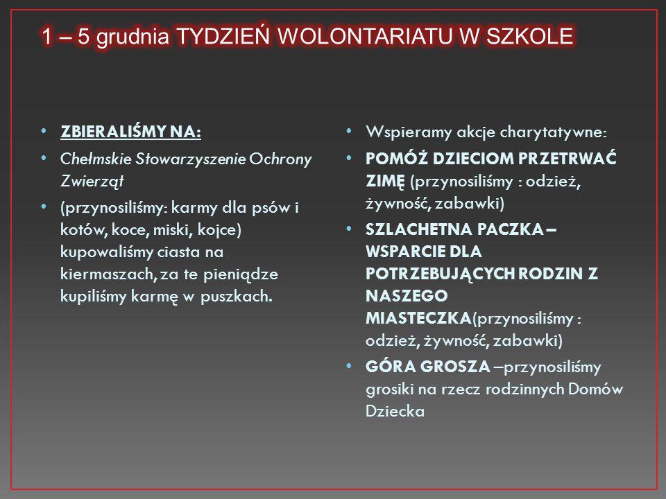1 – 5 grudnia TYDZIEŃ WOLONTARIATU W SZKOLE
