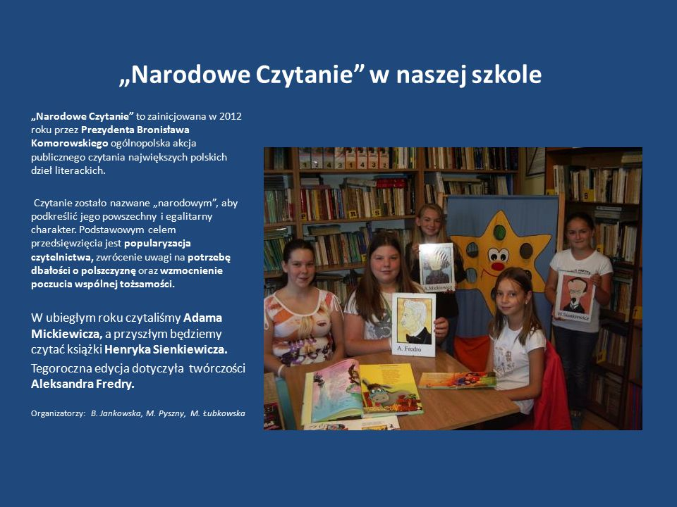 """""""Narodowe Czytanie w naszej szkole"""