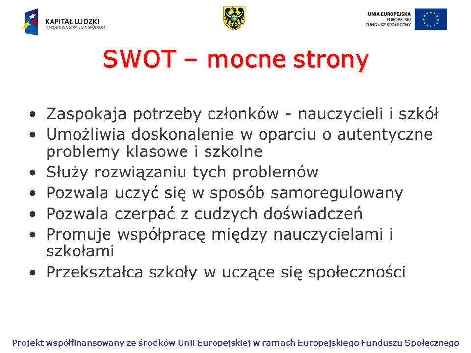 SWOT – mocne strony Zaspokaja potrzeby członków - nauczycieli i szkół