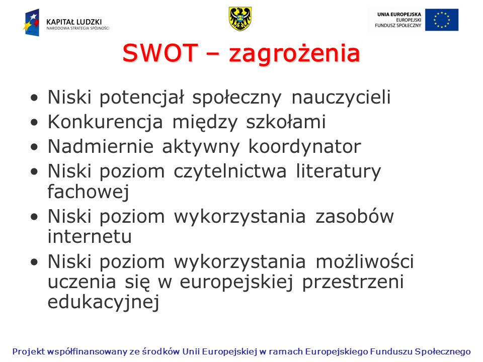 SWOT – zagrożenia Niski potencjał społeczny nauczycieli