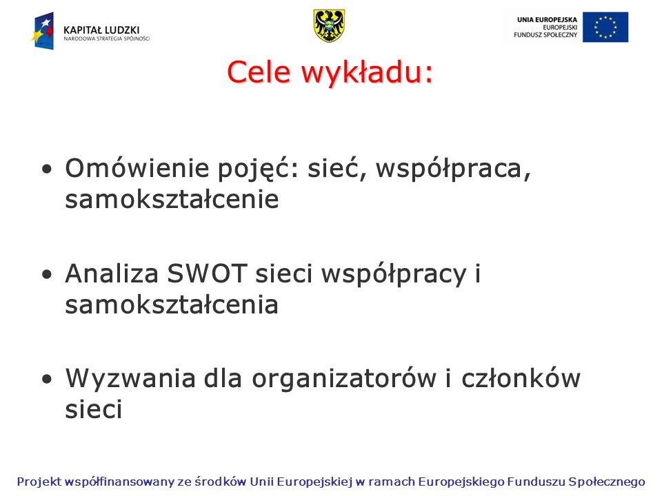 Cele wykładu: Omówienie pojęć: sieć, współpraca, samokształcenie