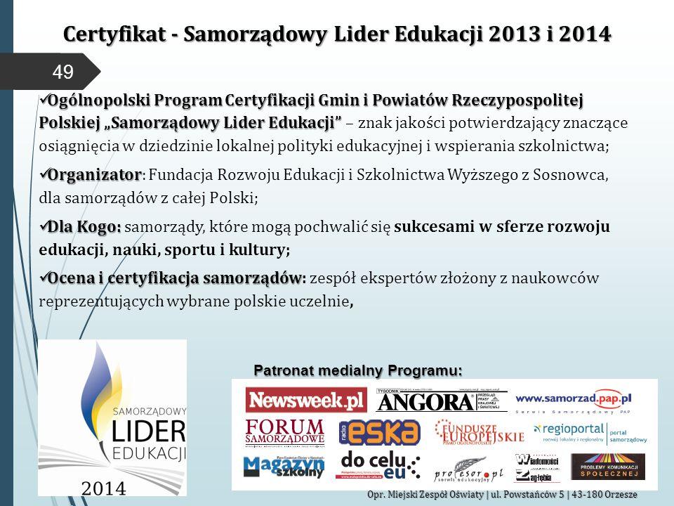 Certyfikat - Samorządowy Lider Edukacji 2013 i 2014