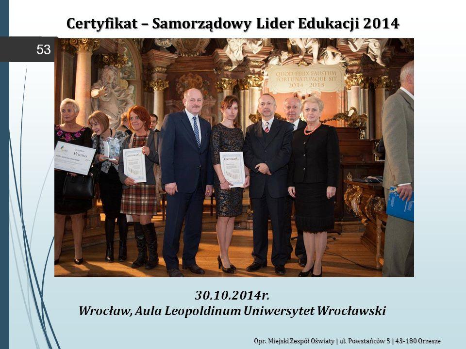 Certyfikat – Samorządowy Lider Edukacji 2014