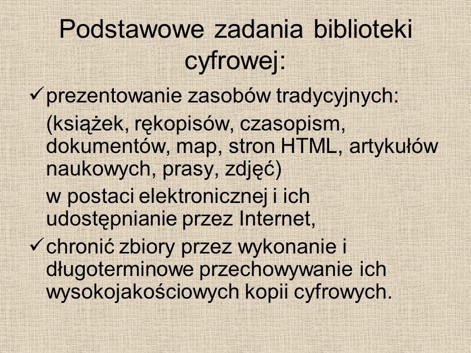 Podstawowe zadania biblioteki cyfrowej: