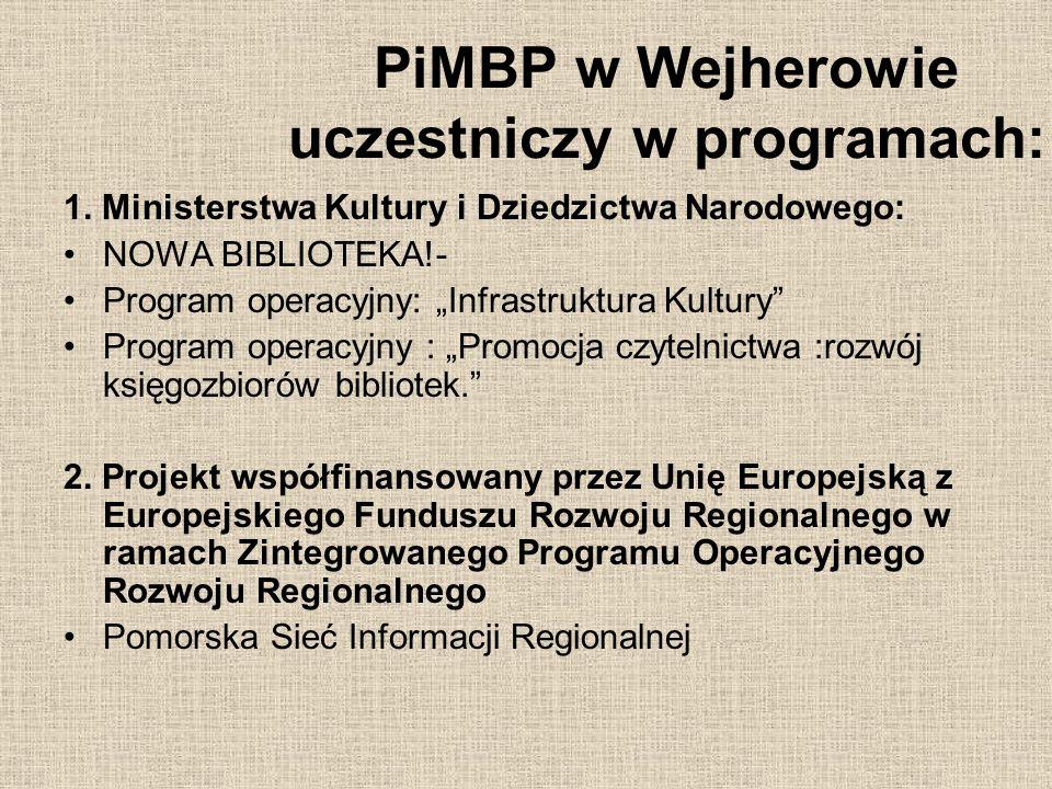 PiMBP w Wejherowie uczestniczy w programach: