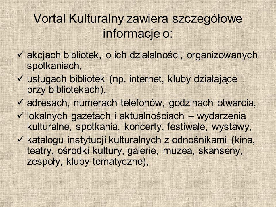 Vortal Kulturalny zawiera szczegółowe informacje o:
