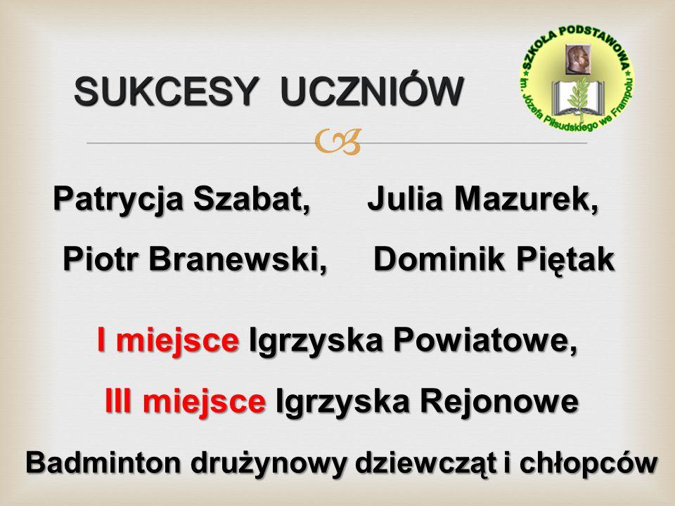 SUKCESY UCZNIÓW Patrycja Szabat, Julia Mazurek,
