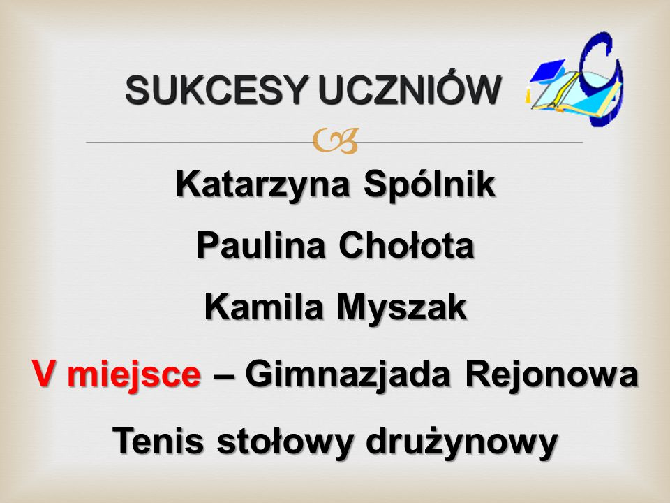 V miejsce – Gimnazjada Rejonowa Tenis stołowy drużynowy