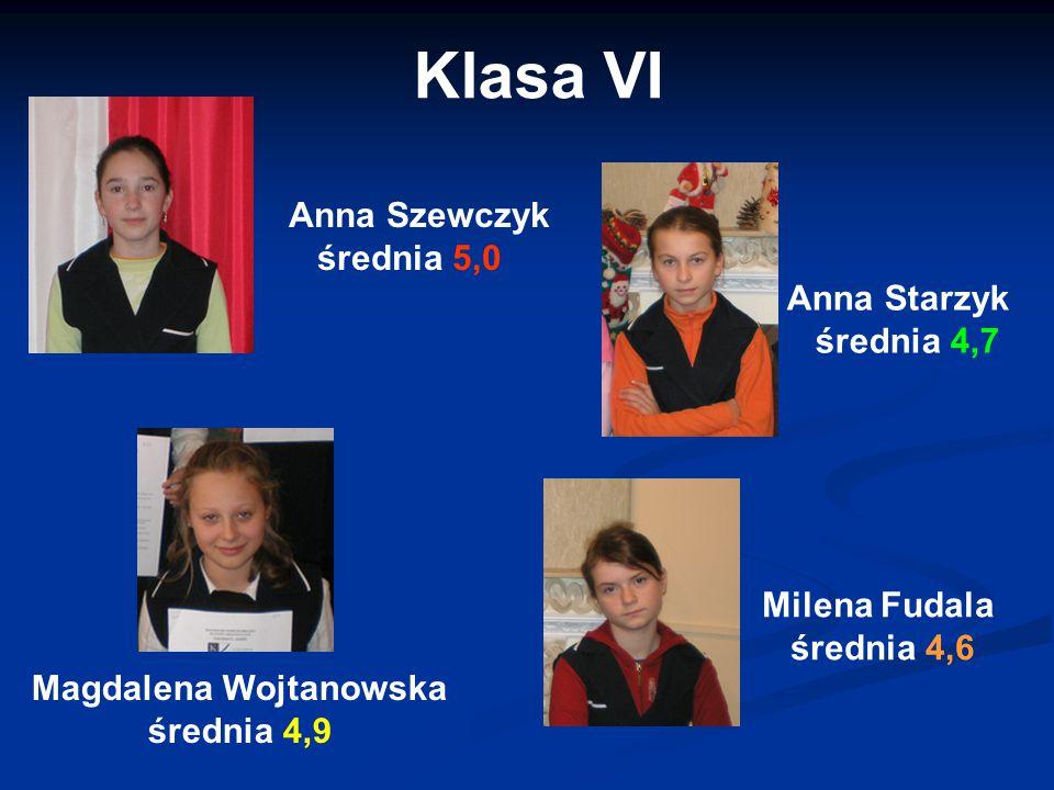 Klasa VI Anna Szewczyk średnia 5,0 Anna Starzyk średnia 4,7
