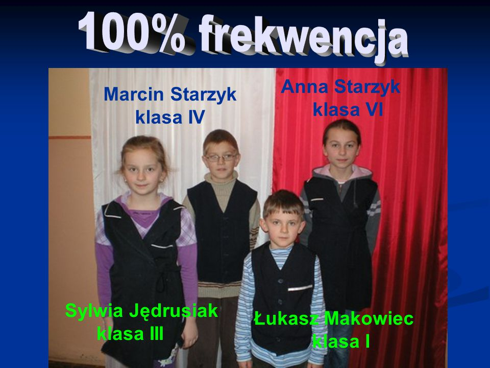 100% frekwencja Anna Starzyk Marcin Starzyk klasa VI klasa IV