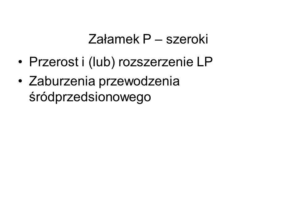 Załamek P – szeroki Przerost i (lub) rozszerzenie LP Zaburzenia przewodzenia śródprzedsionowego
