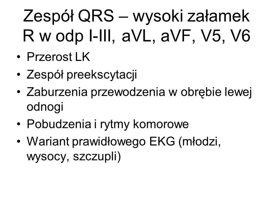 Zespół QRS – wysoki załamek R w odp I-III, aVL, aVF, V5, V6