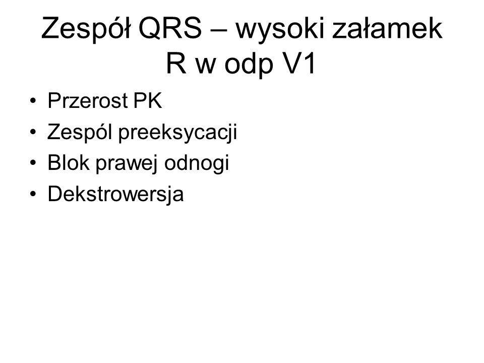 Zespół QRS – wysoki załamek R w odp V1