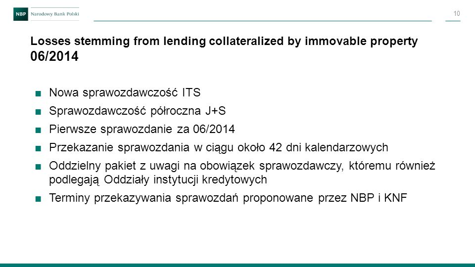 Losses stemming from lending collateralized by immovable property 06/2014