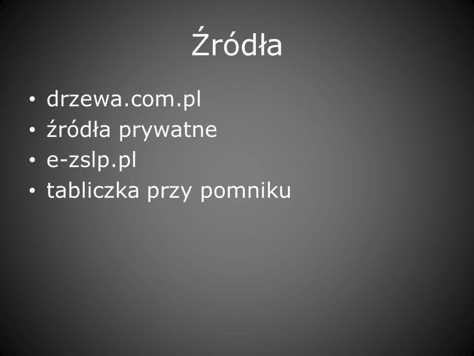 Źródła drzewa.com.pl źródła prywatne e-zslp.pl tabliczka przy pomniku