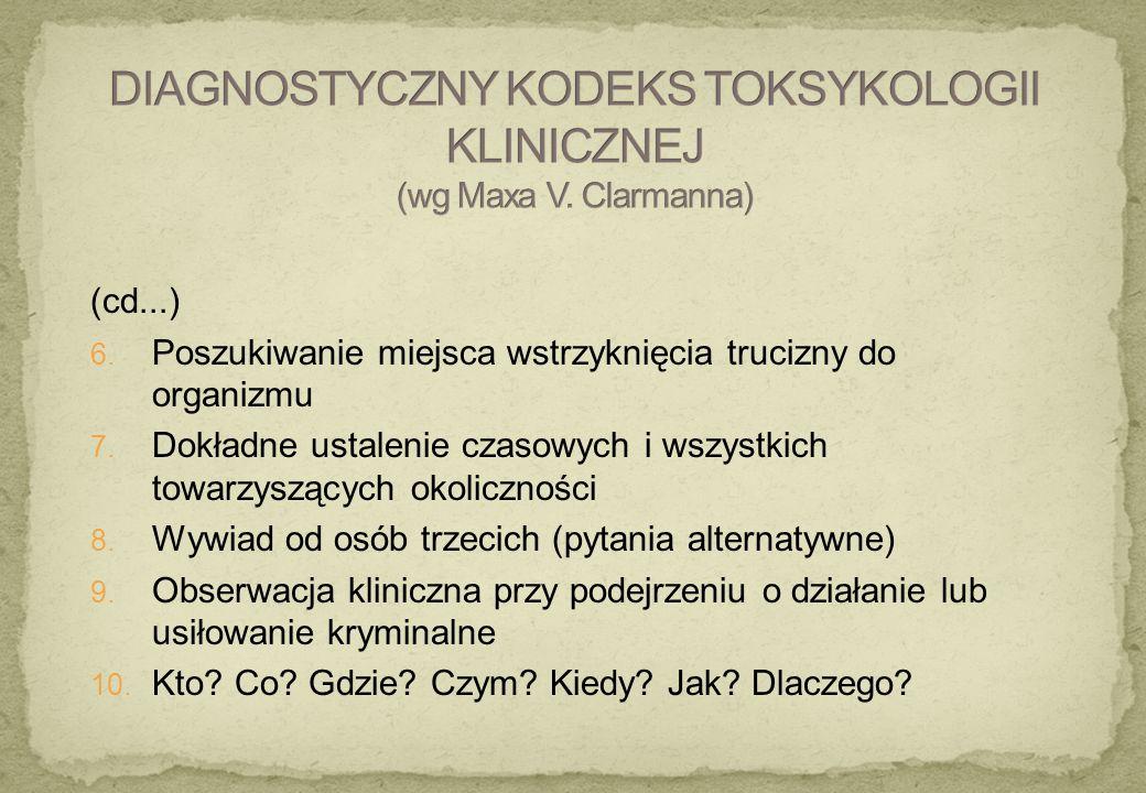 DIAGNOSTYCZNY KODEKS TOKSYKOLOGII KLINICZNEJ (wg Maxa V. Clarmanna)