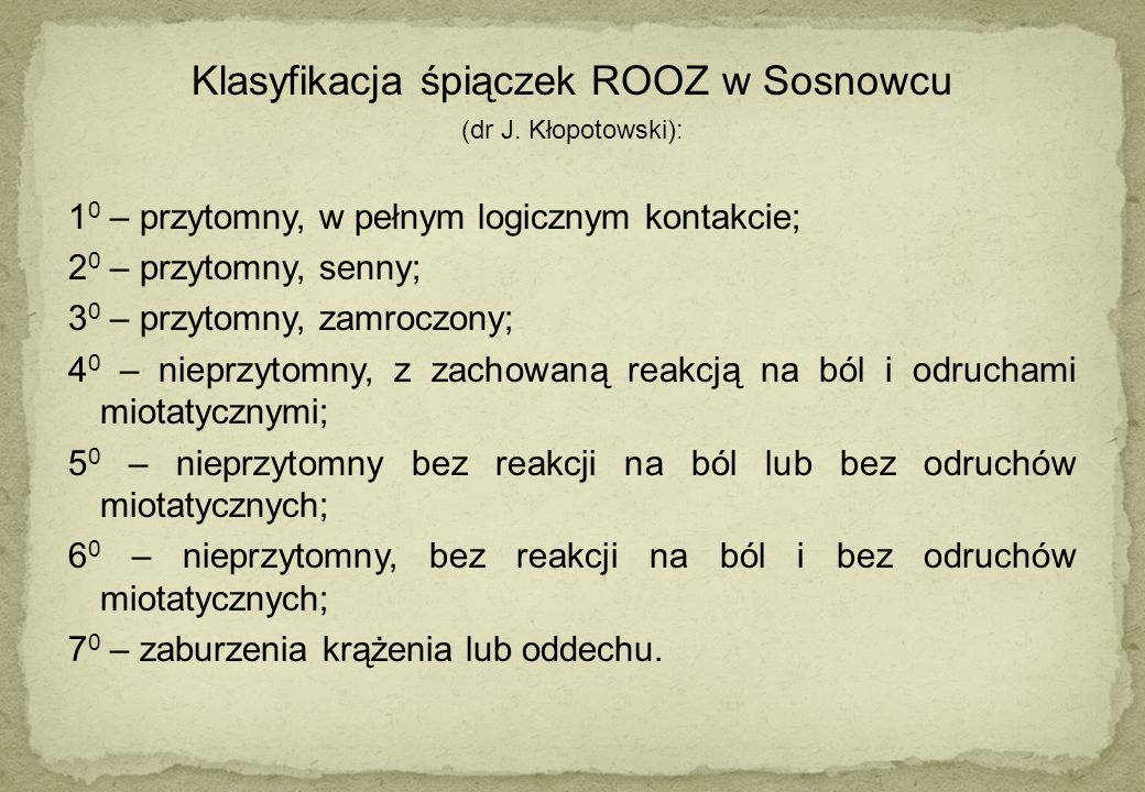 Klasyfikacja śpiączek ROOZ w Sosnowcu