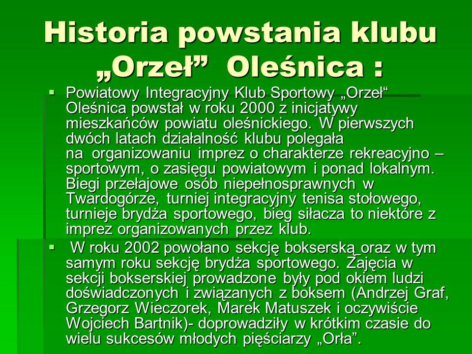 """Historia powstania klubu """"Orzeł Oleśnica :"""