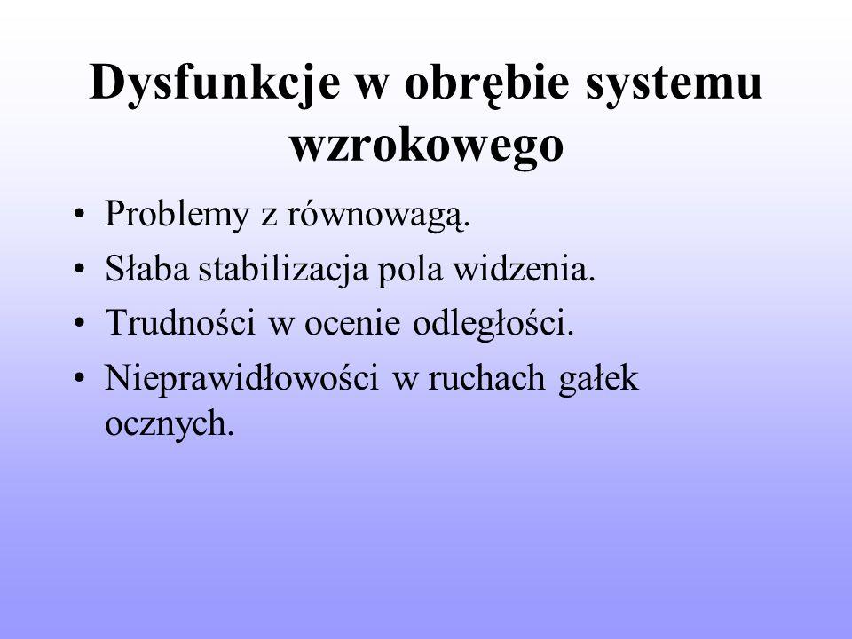 Dysfunkcje w obrębie systemu wzrokowego