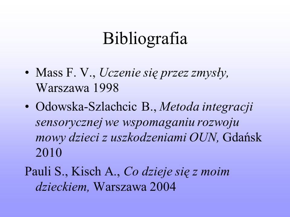 Bibliografia Mass F. V., Uczenie się przez zmysły, Warszawa 1998
