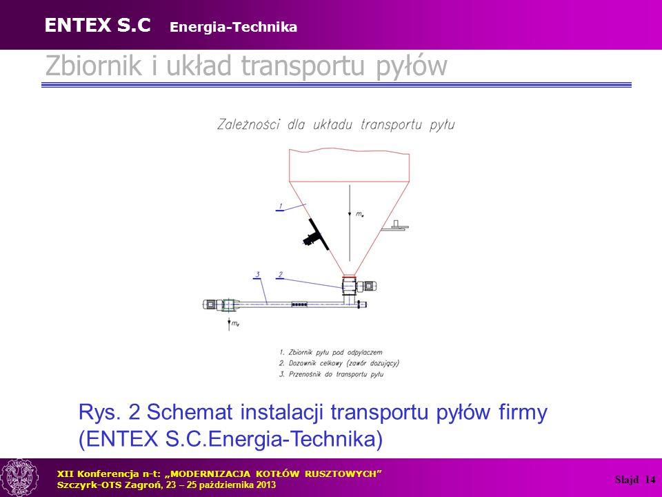 Zbiornik i układ transportu pyłów