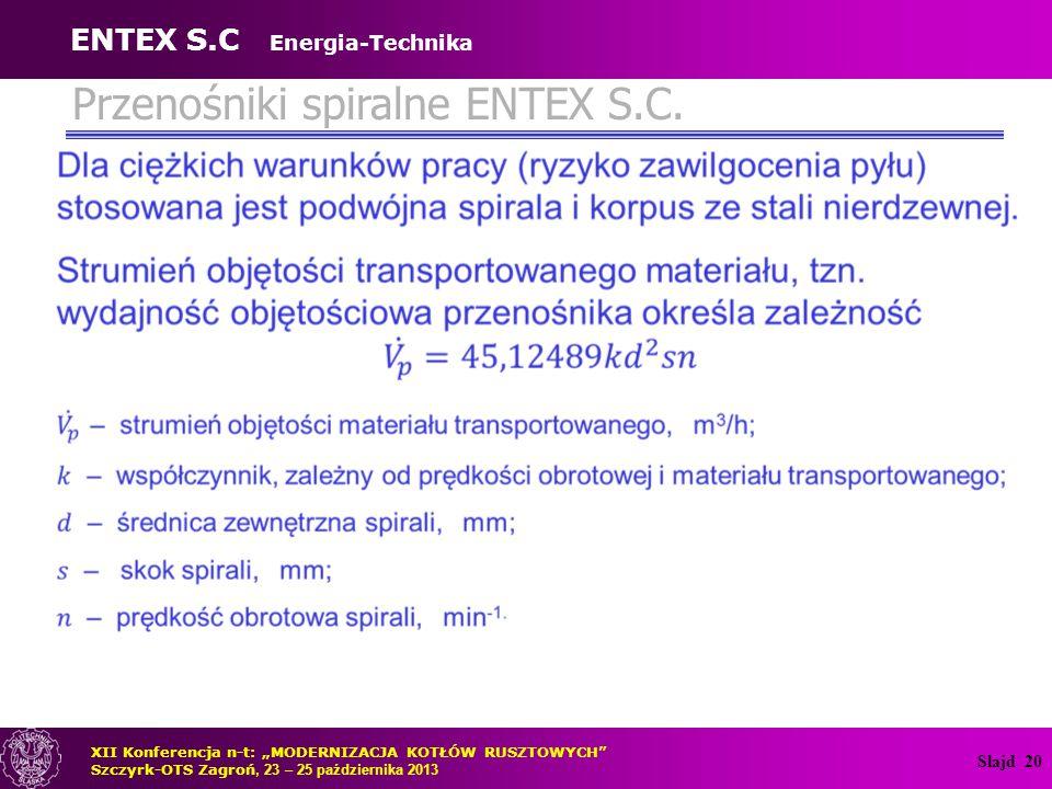 Przenośniki spiralne ENTEX S.C.