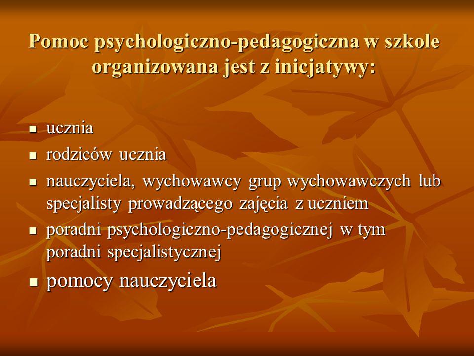 Pomoc psychologiczno-pedagogiczna w szkole organizowana jest z inicjatywy:
