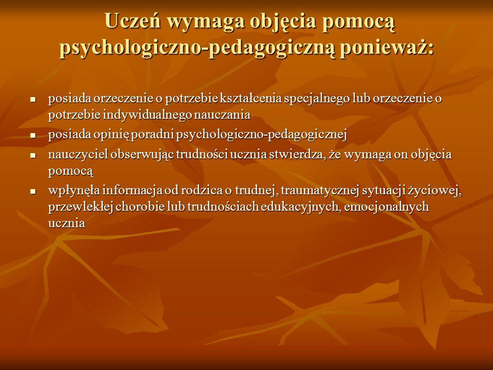 Uczeń wymaga objęcia pomocą psychologiczno-pedagogiczną ponieważ: