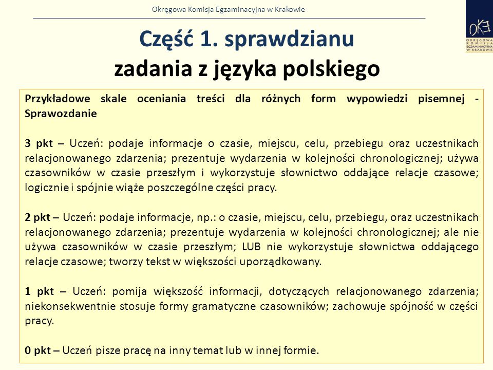 Część 1. sprawdzianu zadania z języka polskiego