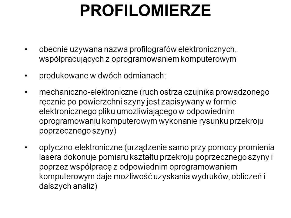 PROFILOMIERZE obecnie używana nazwa profilografów elektronicznych, współpracujących z oprogramowaniem komputerowym.