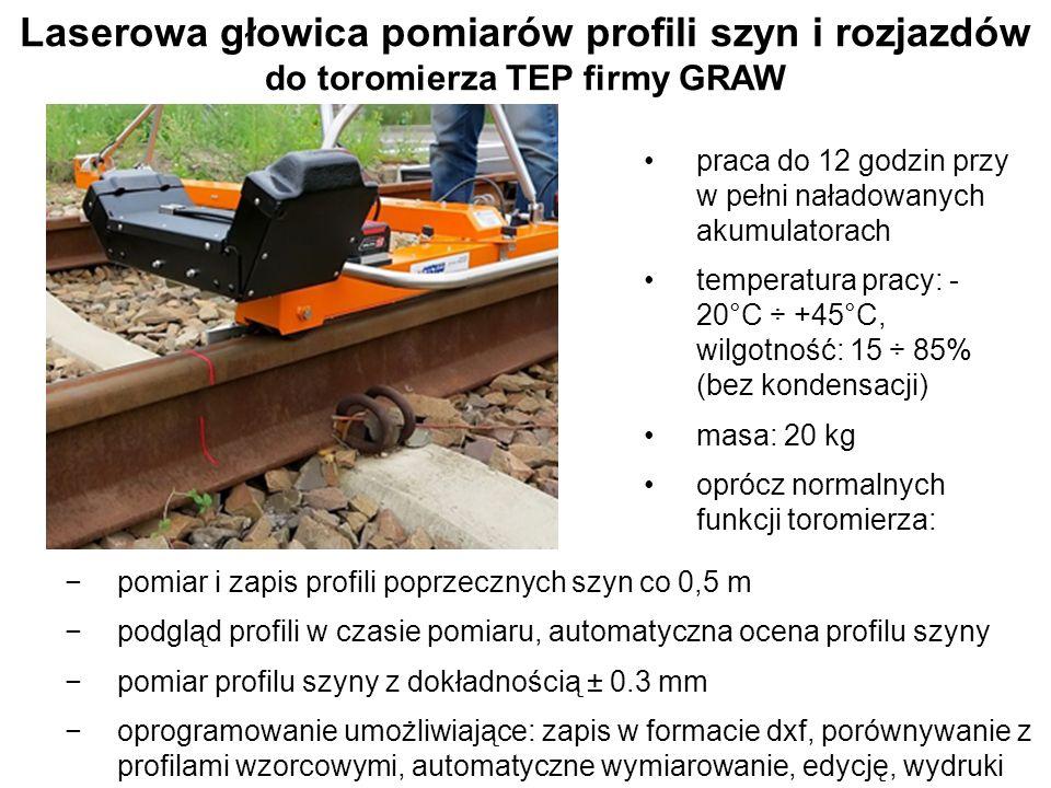 Laserowa głowica pomiarów profili szyn i rozjazdów do toromierza TEP firmy GRAW