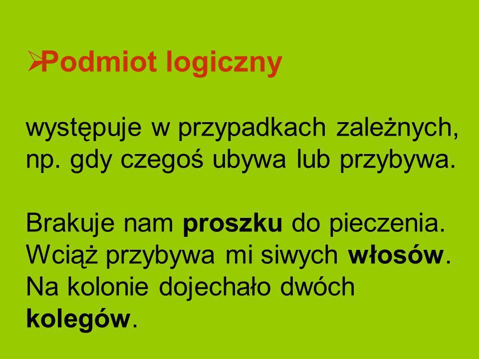 Podmiot logiczny występuje w przypadkach zależnych, np