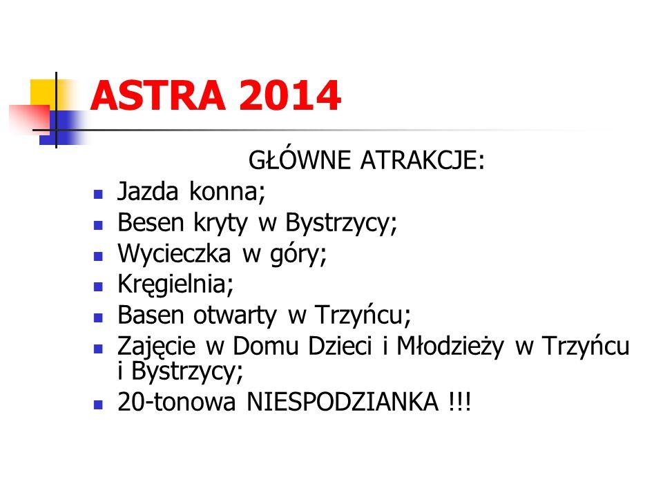 ASTRA 2014 GŁÓWNE ATRAKCJE: Jazda konna; Besen kryty w Bystrzycy;