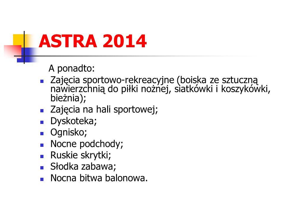 ASTRA 2014 A ponadto: Zajęcia sportowo-rekreacyjne (boiska ze sztuczną nawierzchnią do piłki nożnej, siatkówki i koszykówki, bieżnia);