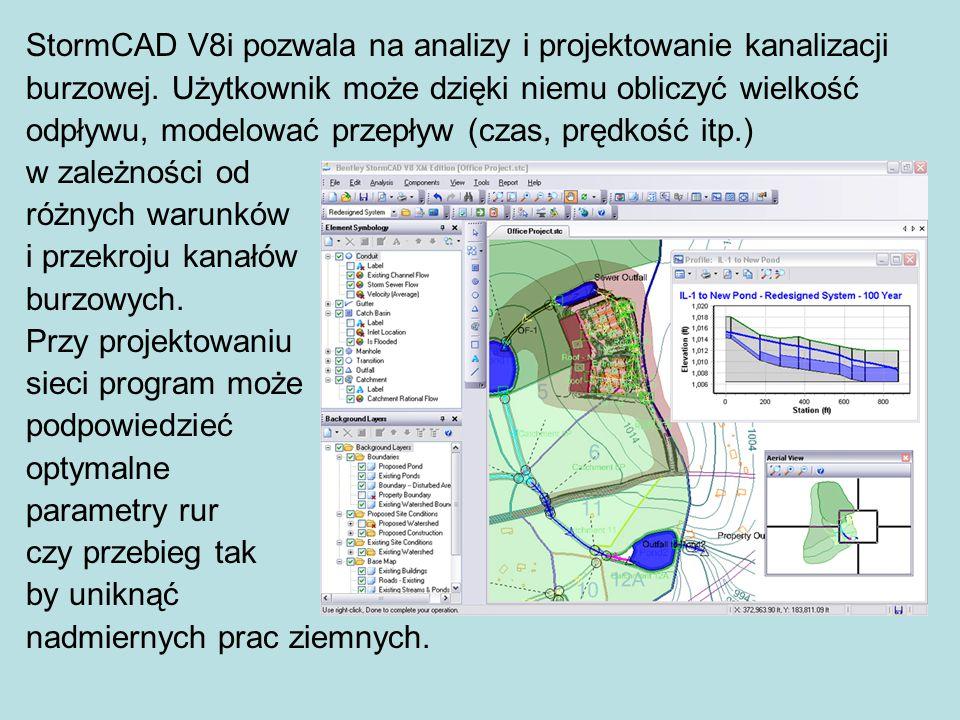 StormCAD V8i pozwala na analizy i projektowanie kanalizacji