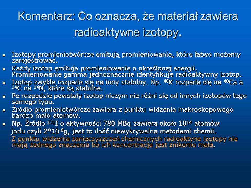 Komentarz: Co oznacza, że materiał zawiera radioaktywne izotopy.