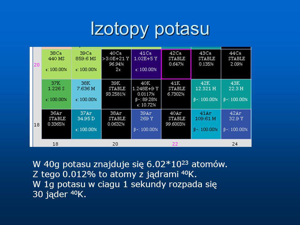 Izotopy potasu W 40g potasu znajduje się 6.02*1023 atomów.