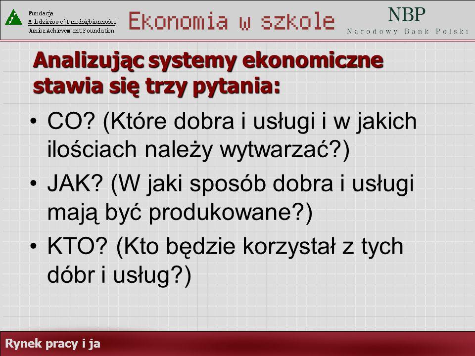 Analizując systemy ekonomiczne stawia się trzy pytania: