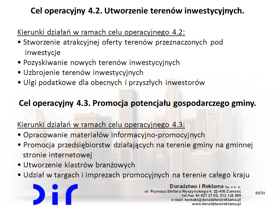 Cel operacyjny 4.2. Utworzenie terenów inwestycyjnych.